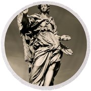 Angel Statue Round Beach Towel