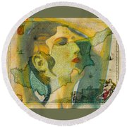 Aphrodite And Ancient Cyprus Map Round Beach Towel