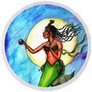Arania Queen Of The Black Pearl Round Beach Towel