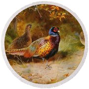 Autumn Covert Pheasants Round Beach Towel