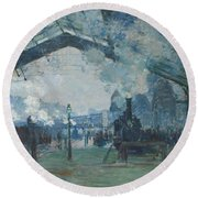 Arrival Of The Normandy Train Round Beach Towel