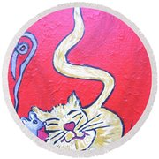 Art Cat Round Beach Towel