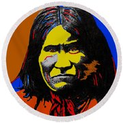 Art Homage Andy Warhol Geronimo 1887-2009 Round Beach Towel