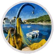 Asos Village In Kefallonia Island Round Beach Towel