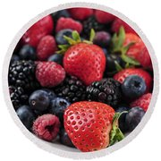 Assorted Fresh Berries Round Beach Towel