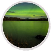 Aurora Borealis Northern Lights Display Round Beach Towel