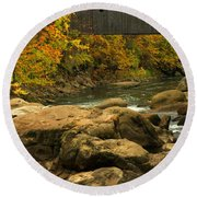 Autumn At Bulls Bridge Round Beach Towel