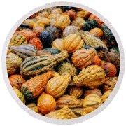 Autumn Gourds Round Beach Towel by Joann Vitali