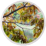 Autumn Leaves 1 Round Beach Towel
