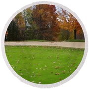 Autumn On The Green Round Beach Towel
