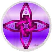 Balance And Harmony - Purple Round Beach Towel