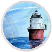 Baltimore Lighthouse  Round Beach Towel