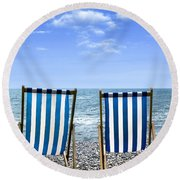 Beach Chairs Round Beach Towel by Joana Kruse