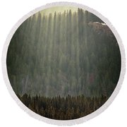 Beams Of Sunlight Shine Over Old Growth Round Beach Towel