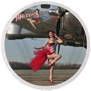 Beautiful 1940s Style Pin-up Girl Round Beach Towel by Christian Kieffer
