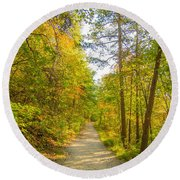 Beautiful Autumn Forest Mountain Stair Path At Sunset Round Beach Towel