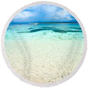 Beautiful Sea At Gili Meno - Indonesia Round Beach Towel
