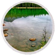 Beauvert Lake In Jasper National Park-alberta-canada Round Beach Towel