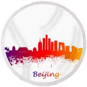Beijing China Skyline  Round Beach Towel