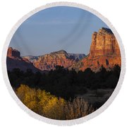 Bell Rock And Courthouse Butte Round Beach Towel