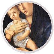 Bellini's Madonna And Child Round Beach Towel