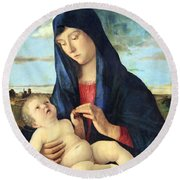 Bellini's Madonna And Child In A Landscape Round Beach Towel