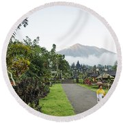 Besakih Temple And Mount Agung View In Bali Indonesia Round Beach Towel