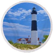 Big Sable Point Lighthouse Round Beach Towel