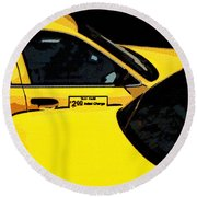 Big Yellow Taxis Round Beach Towel