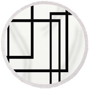Black And White Art - 144 Round Beach Towel