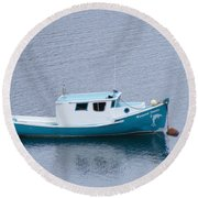 Blue Moored Boat Round Beach Towel