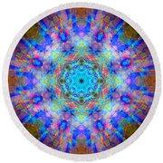 Blue Rainbow Star Mandala Round Beach Towel