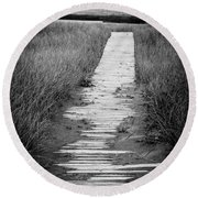 Boardwalk Through The Dunes Round Beach Towel