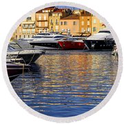 Boats At St.tropez Round Beach Towel