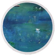 2 Boats In The Lily Pond Round Beach Towel