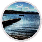 Boats In Wales Round Beach Towel