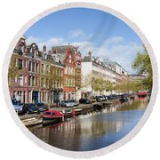 Boats On Amsterdam Canal Round Beach Towel