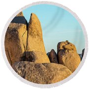 Boulders In A Desert, Joshua Tree Round Beach Towel