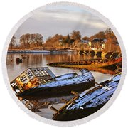 Bowling Harbour 02 Round Beach Towel