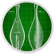Bowling Pin Patent 1895 - Green Round Beach Towel
