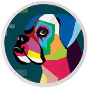 Boxer  Round Beach Towel by Mark Ashkenazi