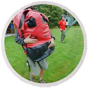 Boy Scouts Canoeing On The Bowron Lakes Round Beach Towel