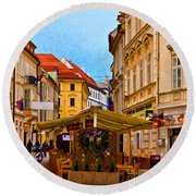 Bratislava Old Town Round Beach Towel