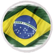 Brazilian Flag  Round Beach Towel