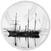 Brazilian Steamship, 1863 Round Beach Towel