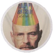 Breaking Bad Walter White Happy Birthday Round Beach Towel