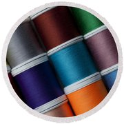 Bright Colored Spools Of Thread Round Beach Towel