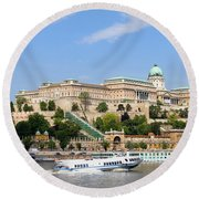Buda Castle In Budapest Round Beach Towel