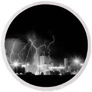 Budweiser Lightning Thunderstorm Moving Out Bw Round Beach Towel