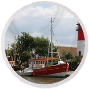 Buesum Lighthouse - North Sea - Germany Round Beach Towel